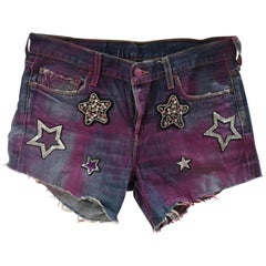 SOAB blue fucsia cotton denim with sequins and swarovski stones shorts