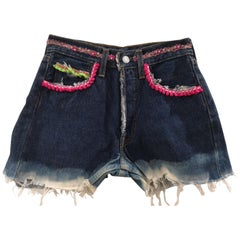 SOAB blue passementerie handmade eye mouth shorts