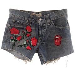 SOAB blue roses tongue shorts