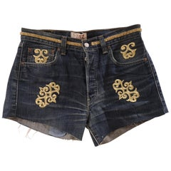 SOAB Blue with gold embroidery handmade cotton short