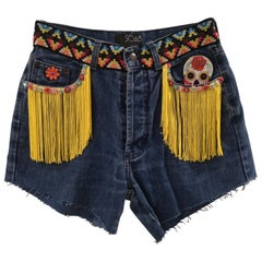 SOAB blue yellow fringes patterns handmade shorts
