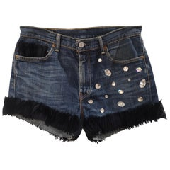 SOAB Handmade swarovski blue cotton shorts
