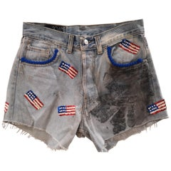 SOAB light blue cotton with USA Sequins flag short