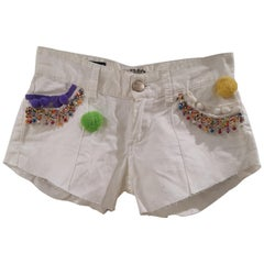 SOAB White cotton beads and pon pon handmade shorts