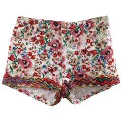 SOAB white flowers cotton swarovski stones shorts