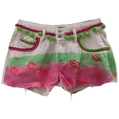 SOAB white pink green handmade shorts