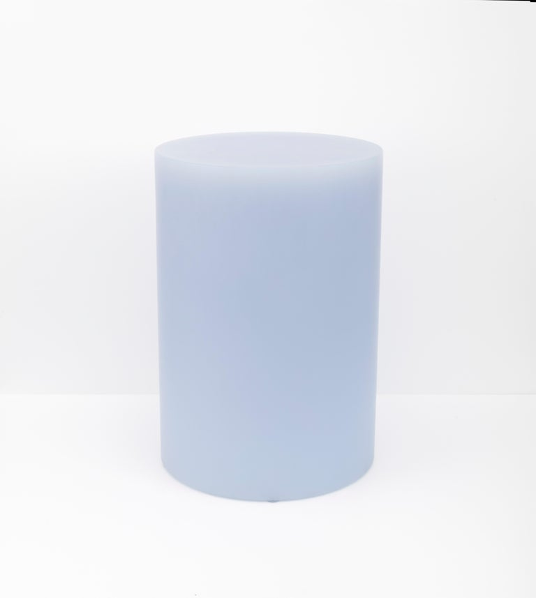 Sabine Marcelis' new ice-lavender SOAP column stools in matte resin are unveiled at NOMAD Monaco 2018, creating a pastel and sculptural mise-en-scéne along with the new round SOAP table.