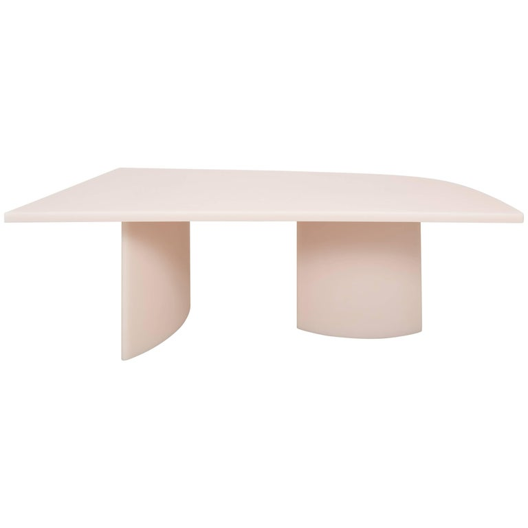 """Soap"" Matte Resin Long Dining Table by Sabine Marcelis, Off-white pink For Sale"