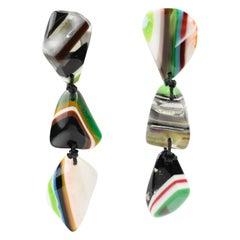 Sobral Oversized Dangle Clip Earrings Multicolor Resin Pebble