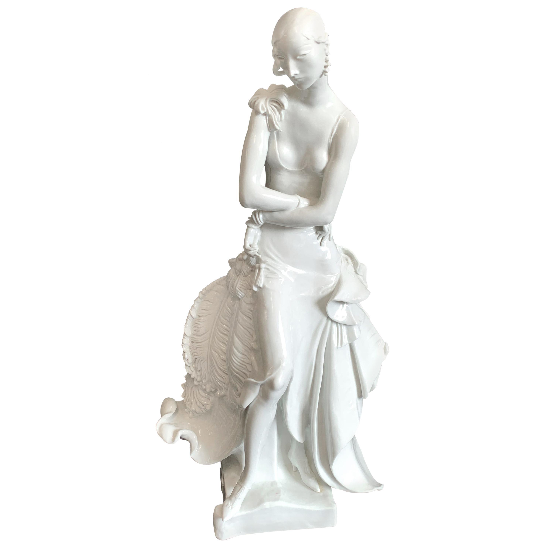 """""""Socialite with Ostrich Fan,"""" Art Deco Masterpiece in Porcelain by Meissen"""
