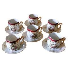 Società Ceramica Italiana Di Laveno G. Andloviz Six Tea Cups and Saucer Service