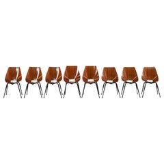 Società Compensati Curvi Set of Eight Mid-Century Modern Dining Chairs, 1950