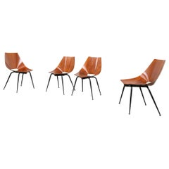 Società Compensati Curvi Set of Four Mid-Century Modern Dining Chairs