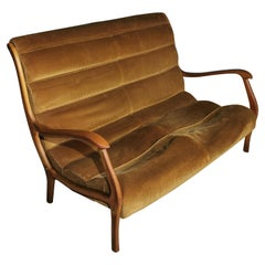 Sofà 2-Seat Midcentury by Ezio Longhi for Elam, in Velvet, Wood,  Italia 1958s