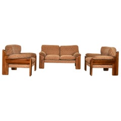 Sofa and Armchairs in Walnut Wood by Mobil Girgi, 1970s