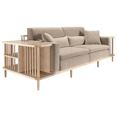 Sofa and Bookshelf Room Divider in Walnut or Oak