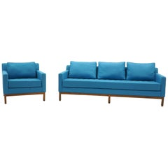 Sofa and Chair by Milo Baughman, Blue/Aqua Maharam Fabric, Walnut Frame