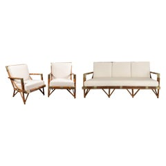 Sofa and Lounge Chairs Set in Rattan and Brass, 1950's