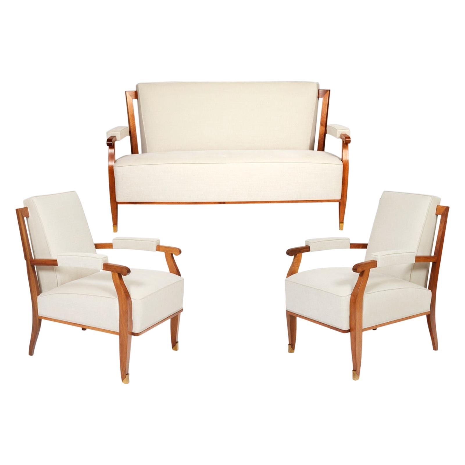 Sofa and Pair of Armchairs by Jules Leleu, circa 1950