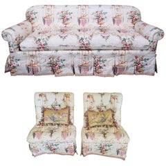 Sofa and Pair of Slipper Chairs in Floral Fabric