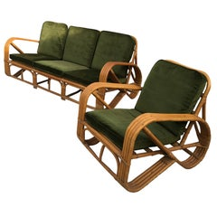 Sofa and Three Armchairs, Audoux-Minnet, France, circa 1950