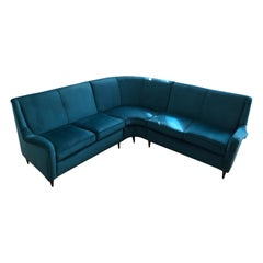 Sofa Attributed to Gio Ponti in Blue Velvet, Restored 1950s