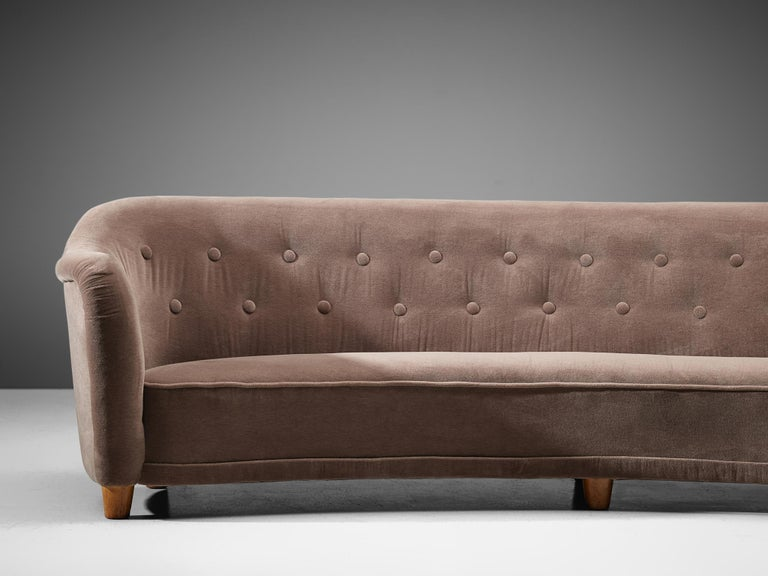 Swedish Large Curved Sofa in Velvet Upholstery For Sale