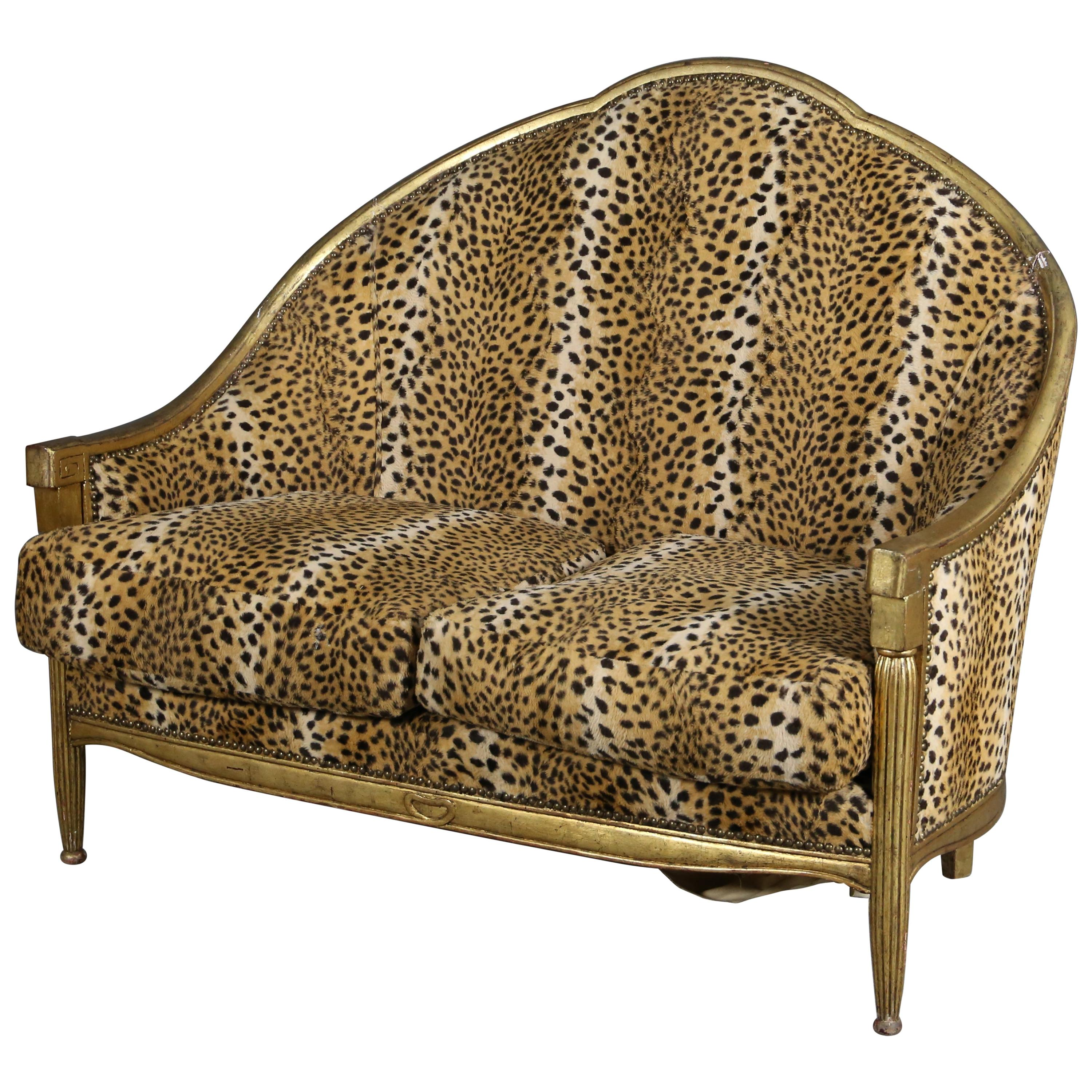 Sofa Attributed to Paul Iribe in Carved and Gilded Wood Leopard Fabrice, 1940