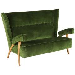 Sofa Beech Velvet Vintage Manufactured in Italy, 1950s