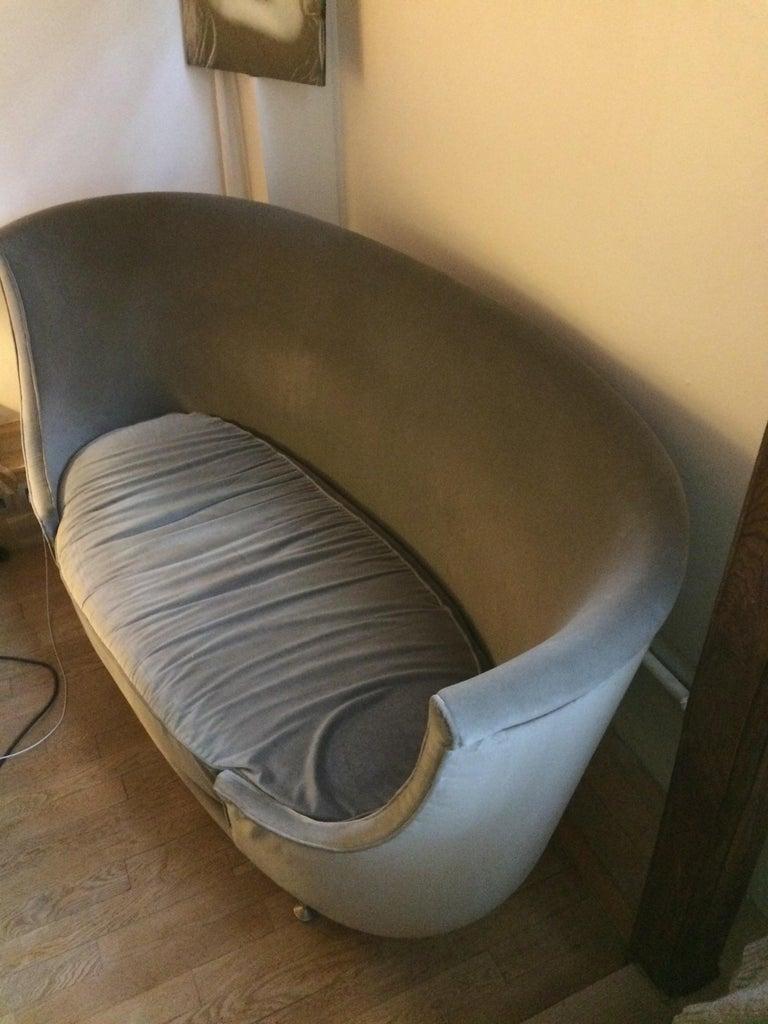 French Sofa or Bench in Shaved Velvet Moroso For Sale