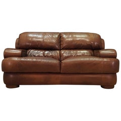Sofa Brown Leather Danish Design Vintage, 1960s