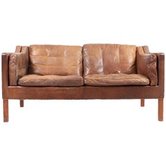 Sofa by Børge Mogensen in Patinated Leather