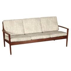 Sofa by Grete Jalk Teak Fabric Upholstery Vintage, Denmark, 1950s-1960s