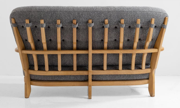 Oak Sofa by Guillerme & Chambron For Sale