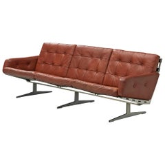 "Sofa ""Caravelle"" in Brown Leather by Paul Leidersdorff"