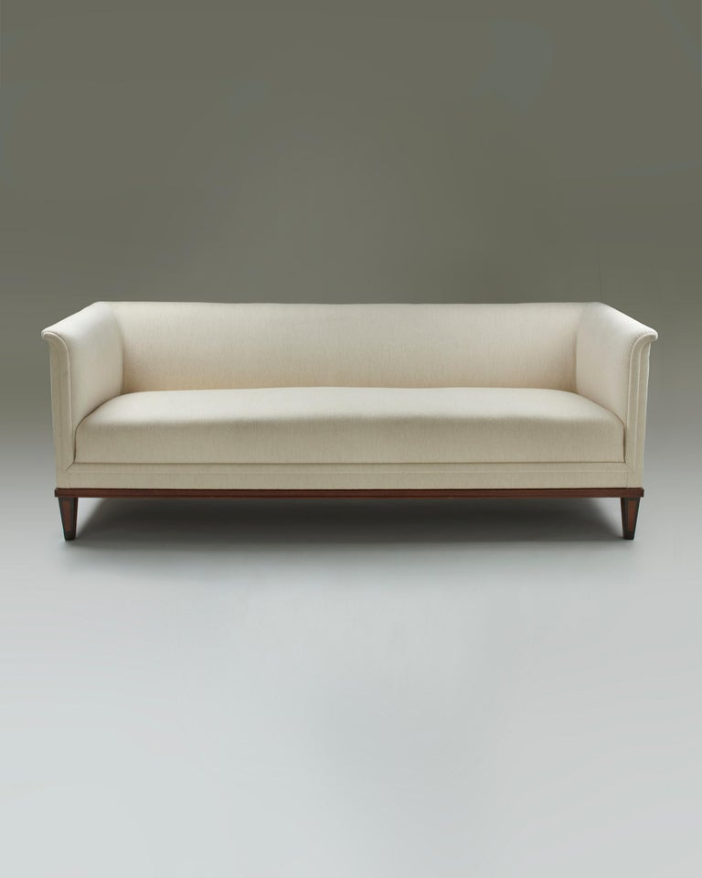 """Ash, fabric upholstery.  Commissioned for the Parliament House, Helsinki, 1931.  Stamped """"A. SALMI HUONEKALUTEHDAS""""  Measures: H: 75 cm/ 2' 5 1/2"""