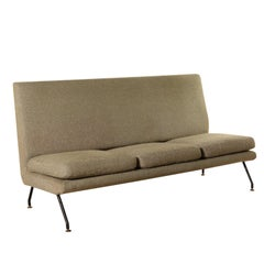 Sofa Designed for Isa Foam Fabric Metal Brass Vintage Italy, 1960s