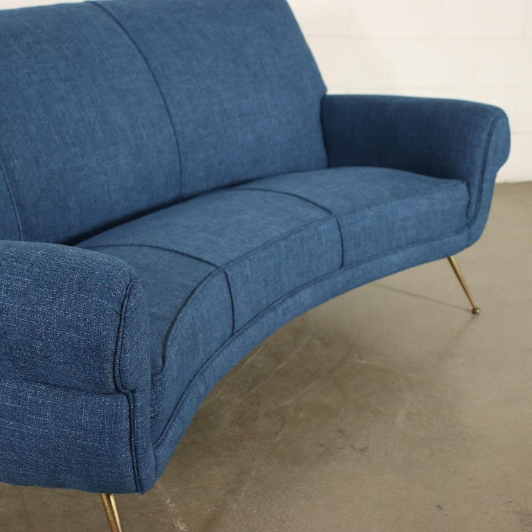 Sofa Fabric Foam Brass Spring, Italy, 1950s-1960s In Excellent Condition For Sale In Milano, IT