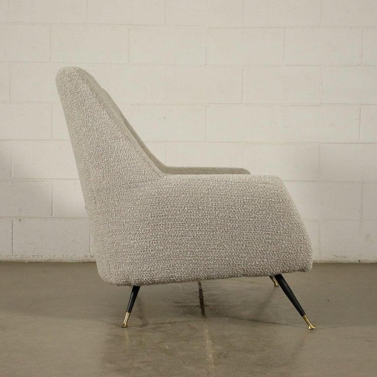 Mid-Century Modern Sofa Foam Enameled Metal Brass Fabric, Italy, 1960s For Sale