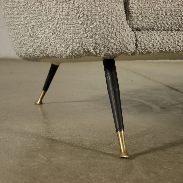 Sofa Foam Enameled Metal Brass Fabric, Italy, 1960s For Sale 1