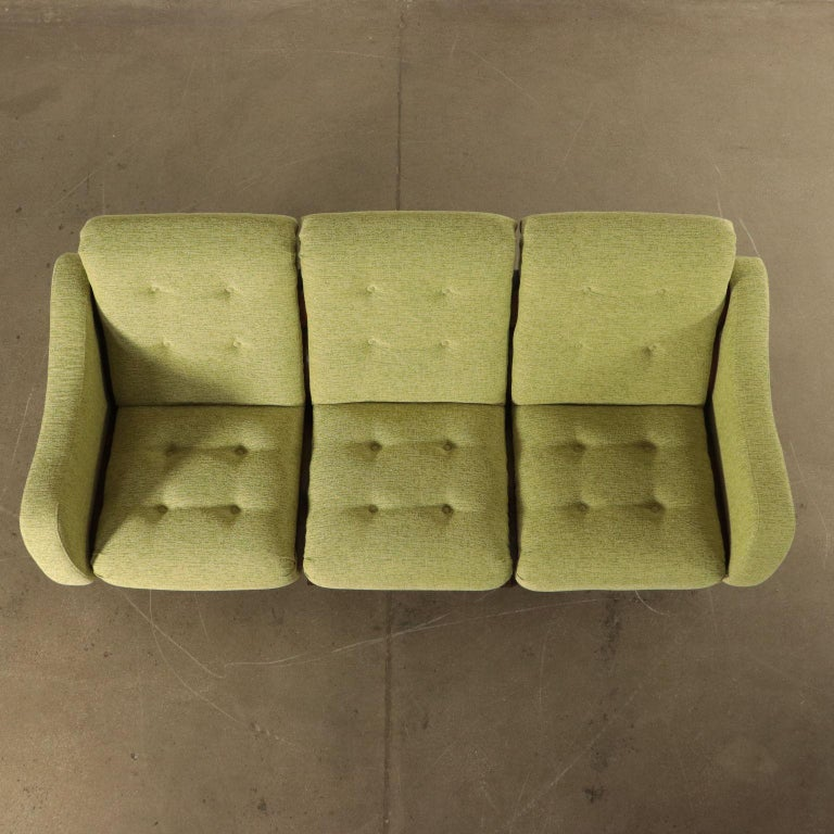 Sofa Foam Fabric and Brass Italy 1960s Italian Production For Sale 4