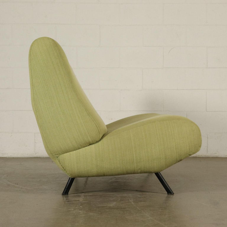 Mid-Century Modern Sofa Foam, Fabric and Brass Marco Zanuso, 1960s For Sale