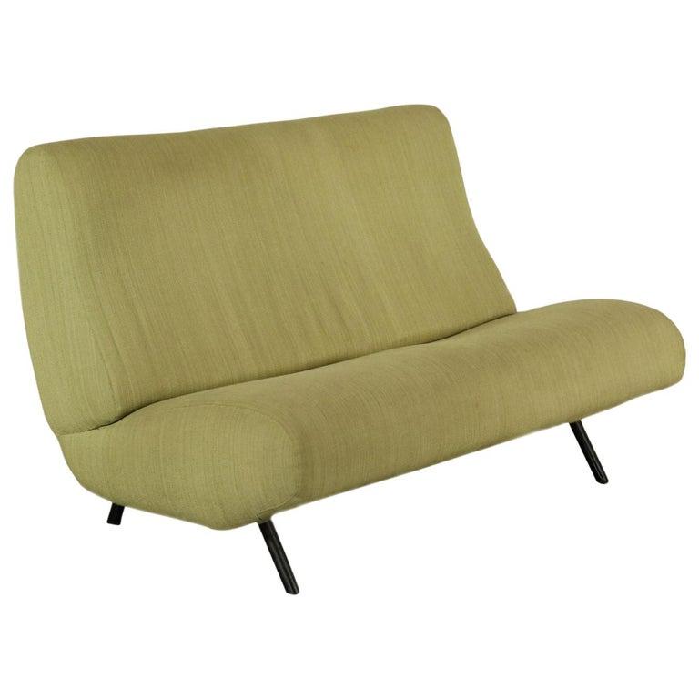 Sofa Foam, Fabric and Brass Marco Zanuso, 1960s For Sale