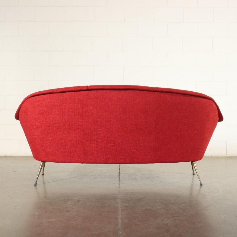 Sofa Foam Fabric Brass Plated Metal, Italy, 1950s 1960s For Sale 4