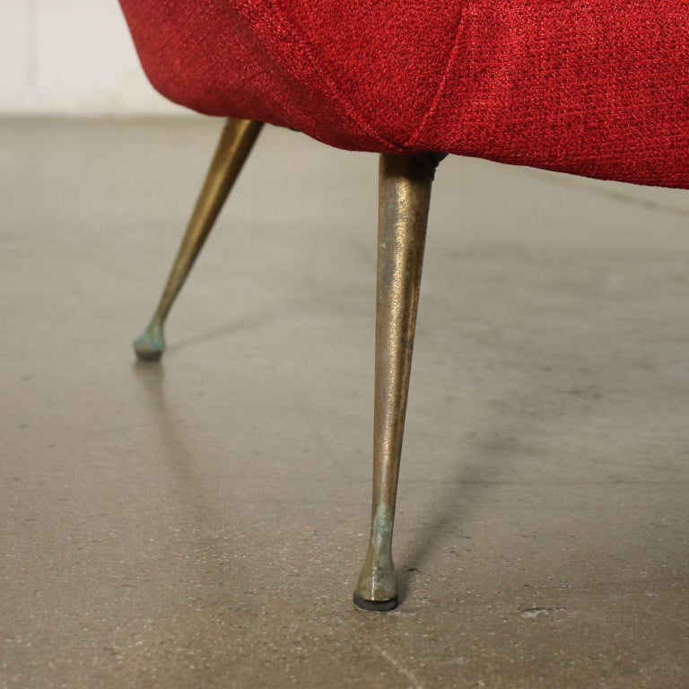 Sofa Foam Fabric Brass Plated Metal, Italy, 1950s 1960s For Sale 1