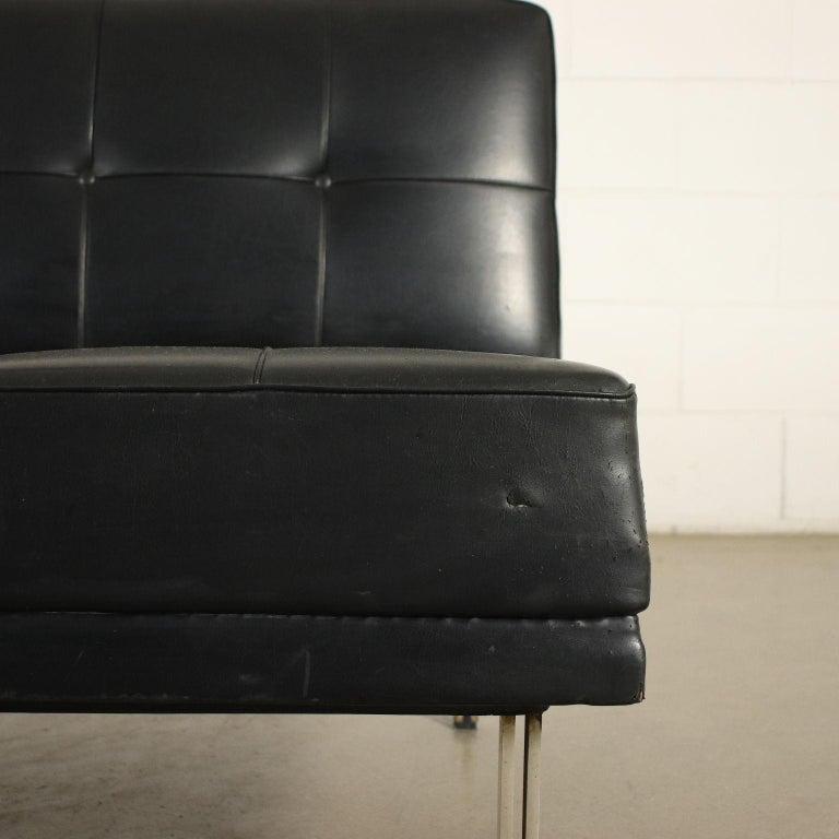 Mid-20th Century Sofa Foam Leatherette Chromed Metal, Italy, 1960s