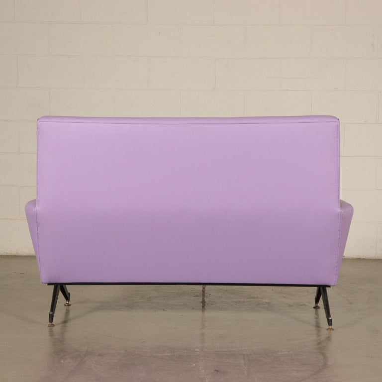 Sofa, Foam Metal and Leatherette, Italy 1950s-1960s Italian Production For Sale 4