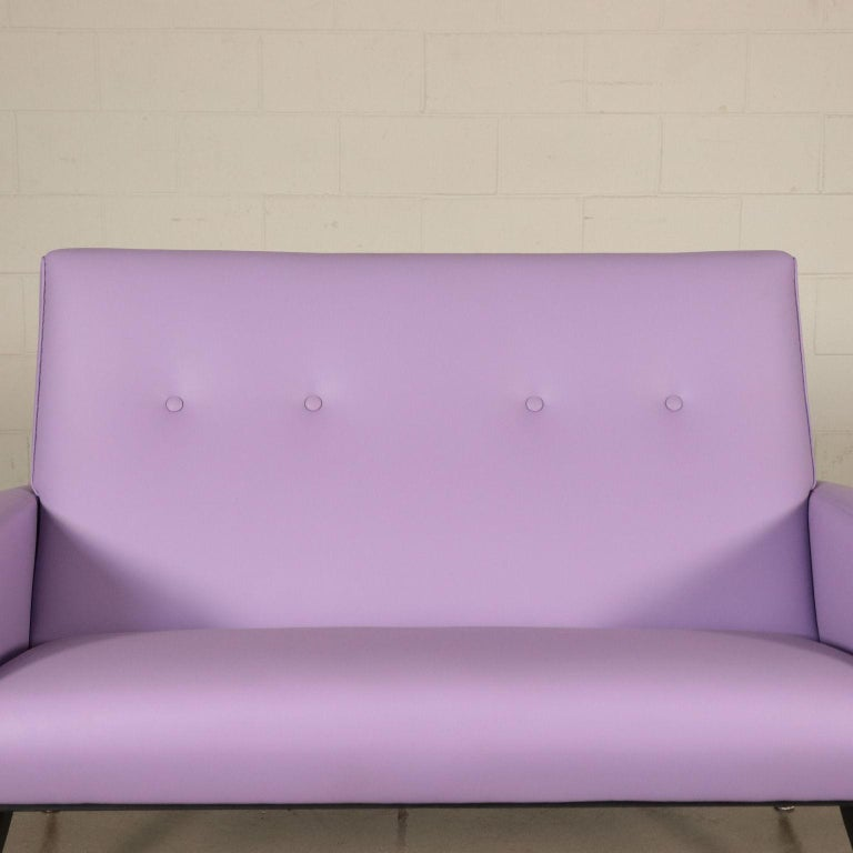 Mid-Century Modern Sofa, Foam Metal and Leatherette, Italy 1950s-1960s Italian Production For Sale