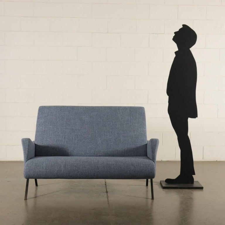 Sofa, foam padding, velvet covering, metallic enameled legs.
