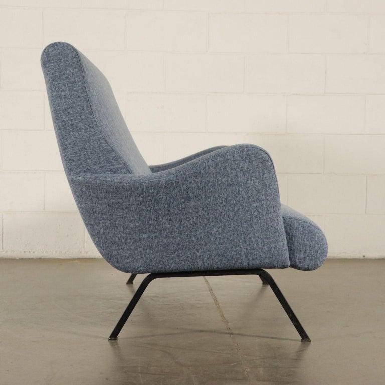 Mid-Century Modern Sofa Foam Metallic Enameled Fabric Italy 1960s Italian Production For Sale